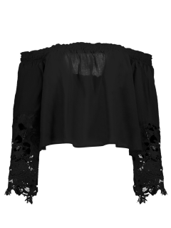 Off The Shoulder Lace Bell Sleeve Blouse - Black M