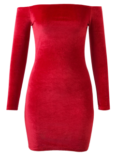 Off The Shoulder Long Sleeve Velvet Dress - Bright Red S
