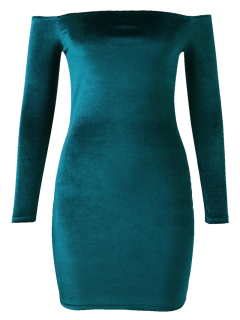 Off The Shoulder Long Sleeve Velvet Dress - Lake Green L