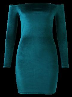 Aus Der Schulter Langarm Samt Kleid - See Grün  L
