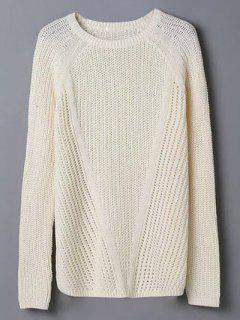 Crew Neck Hollow Out Jumper Sweater - Off-white M