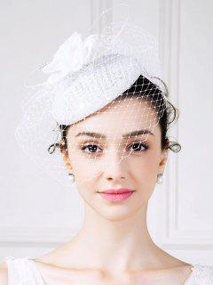 Rhinestone Veil Rose Pillbox Hat - White