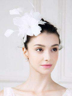Feathered Flower Fascinator Hat - White