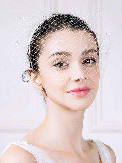 Mesh Veil Rhinestone Hairband - White