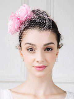 Roses Veil Hairband Fascinator Hat - Pink