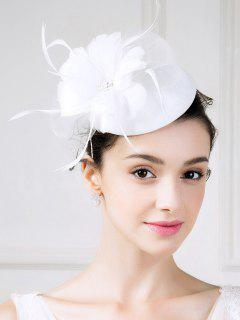 Fascinator Flower Pillbox Hat - White