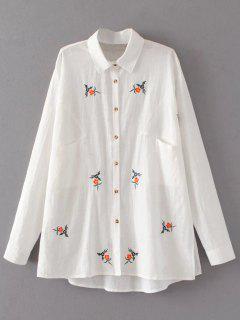 Shirt Oversize Brodé Avec Poche - Blanc S