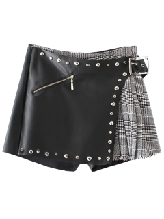 Plaid Rivet Faux Leather Shorts - Black L