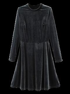 Tenez-cou à Manches Longues Mini Robe En Velours - Gel M