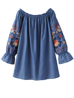 Off The Shoulder Floral Embroidered Blouse - Blue S