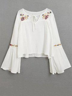 Lace Up Flare Sleeve Embroidered Blouse - White S