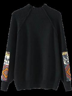Mock Neck Patché Ribbed Sweater - Noir