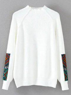 Mock Neck Patché Ribbed Sweater - Blanc