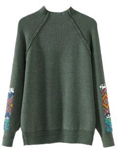 Mock Neck Patché Ribbed Sweater - Vert Armée