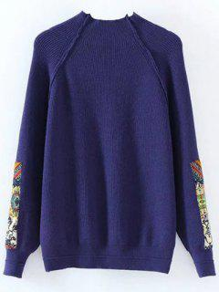 Mock Neck Patché Ribbed Sweater - Bleu Foncé