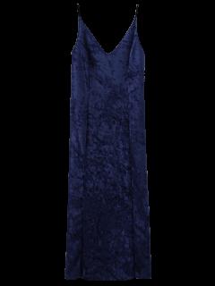 Crushed Velvet Cami Slip Dress - Sapphire Blue S