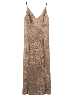 Crushed Velvet Cami Slip Dress - Champagne S