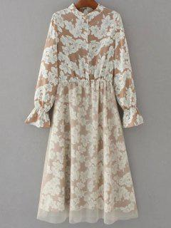 Long Sleeve Tulle Panelled Floral Dress - Light Brown S