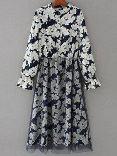 Long Sleeve Tulle Panelled Floral Dress - Purplish Blue M