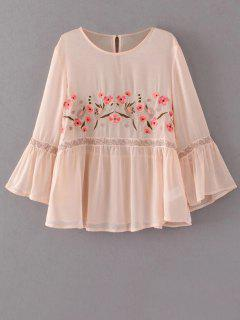 Flare Sleeve Embroidered Blouse - Apricot L