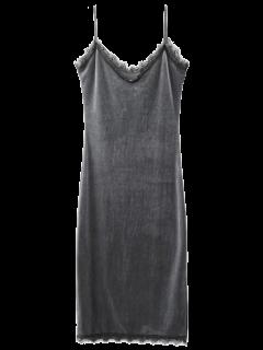 Terciopelo Cordón De La Pestaña Vestido De Cami - Gris S
