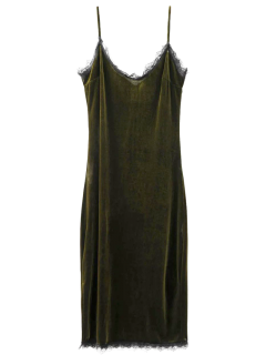 Robe à Bretelles En Velours En Dentelle Frangée - Vert Foncé S