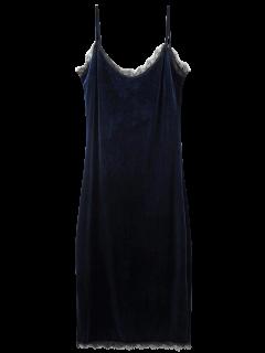 Robe à Bretelles En Velours En Dentelle Frangée - Cadetblue S