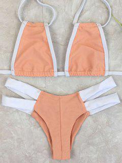 Bicolor Banded Plunge Bikini - Orangepink Xl