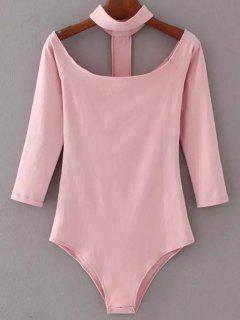 Skinny Off The Shoulder Choker Bodysuit - Pink S