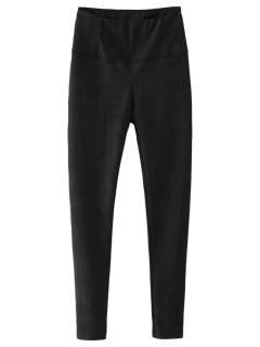 Faux Suede Winter Leggings - Black S