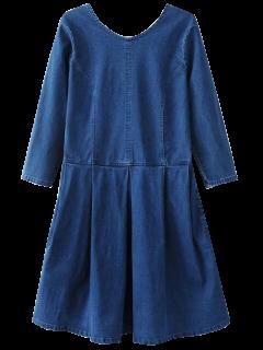 Back U Neck Jean Dress - Blue S