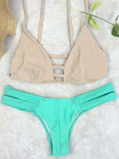 Cut Out Color Block Spaghetti Straps Bikini Set - Green S