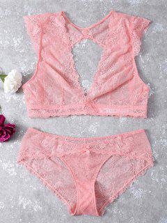 See-Through Scalloped Lace Bra Set - Light Pink S
