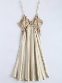 Spaghetti Strap Faux Silk Sleep Dress - Beige