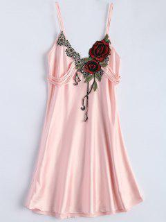 Slip Rose Faux Silk Babydolls - Light Pink