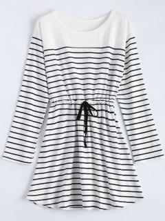Drawstring Long Sleeve Striped Lounge Dress - White M