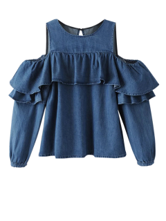Ruffles Cold Shoulder Denim Blouse - Blue M