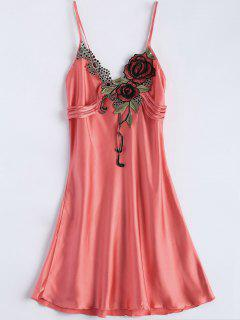 Slip Rose Faux Silk Babydolls - Watermelon Red