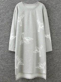 High Low Birds Print Sweatshirt - Gray 4xl