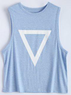 Patrón De Triángulo Sin Mangas - Azul Claro L