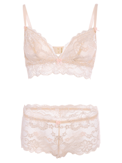 See Through Lace Bra Set - Light Pink S