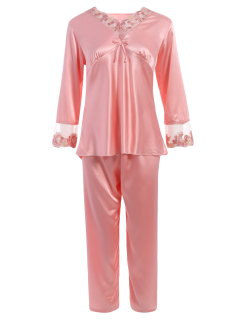 Bowknot Lace Insert Faux Silk Pajama Set - Light Pink M