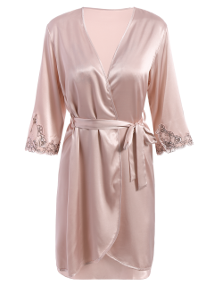 Faux Silk-vêtement Et Slip Dress Loungewear - Rose Nu L