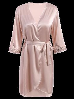 Faux Seda Prendas De Vestir Exteriores Y Slip Vestido Loungewear - Rosa Desnudo L