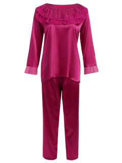 Fringed Ruffle Pullover Faux Silk Loungewear - Purplish Red Xl