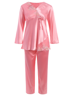 Lace Panel Long Sleeve Faux Silk Pajama Suit - Papaya M
