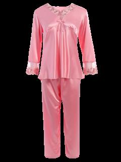 Bowknot Spitzeneinsatz Faux Seide Pyjama Set - Papaya Xl