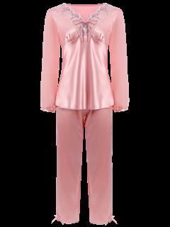Traje Del Bowknot De Imitación De Seda De La Gasa Del Suéter De Pijama - Rosa Claro M