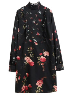 Ruffle Mock Neck Long Sleeve Floral Tunic Dress - Black L