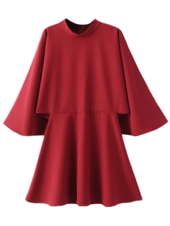 Mock Neck Papillon Mini Robe à Manches - Rouge M